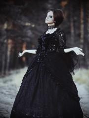 Черное рококо (Insomnia Dress). Цена проката: 2500₽; эпоха: Рококо; цвет: Черный; размер: 44-46