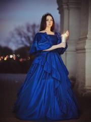 Синий бидермейер (Insomnia Dress). Цена проката: 2000₽; эпоха: Бидермейер; цвет: Синий; размер: 40-42